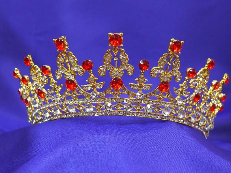 Princess red ruby tiara CT52